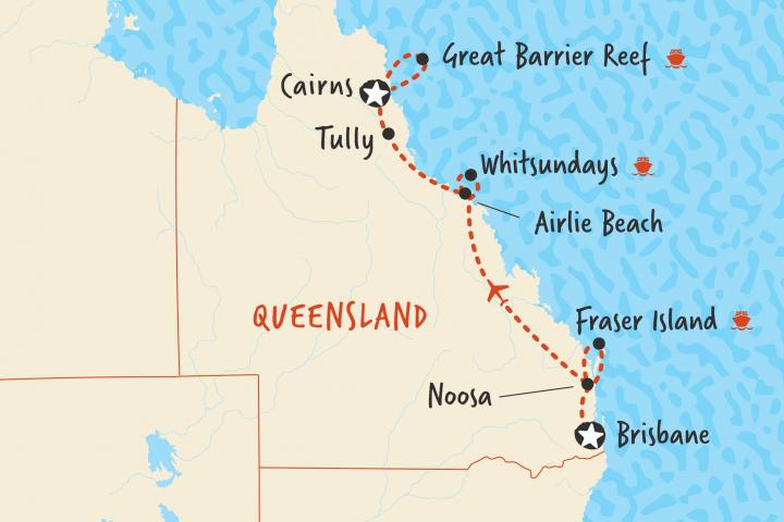 Map Brisbane Cairns